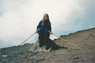 Climbing Mt. Vesuvius, apparently I was struggling & needed two walking sticks.