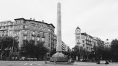 Roundabout at the corner of Diagonal & D'Urgell.