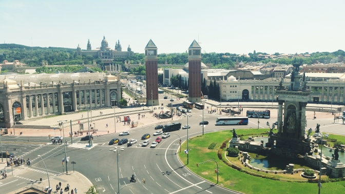 Aerial view of Pl. Espana from the Arenas